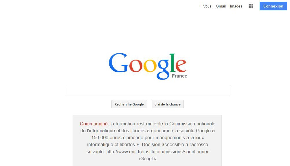 google.fr privacy violation notice